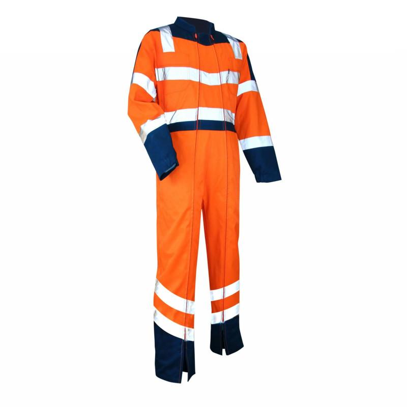 Combinaison HV pas cher double zip LMA VIGILANCE orange et bleu marine