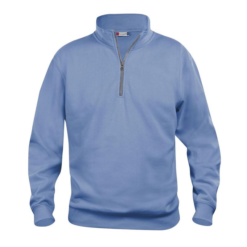 Sweatshirt de Travail pas cher Clique BASIC HALF ZIP bleu ciel