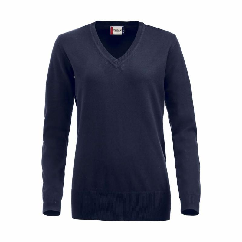 Pull professionnel Femme bleu marine 100% coton Clique ASTON LADIES