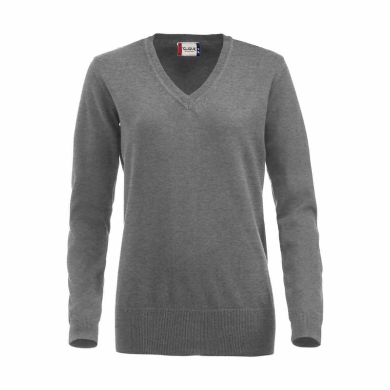 Pull professionnel Femme gris 100% coton Clique ASTON LADIES