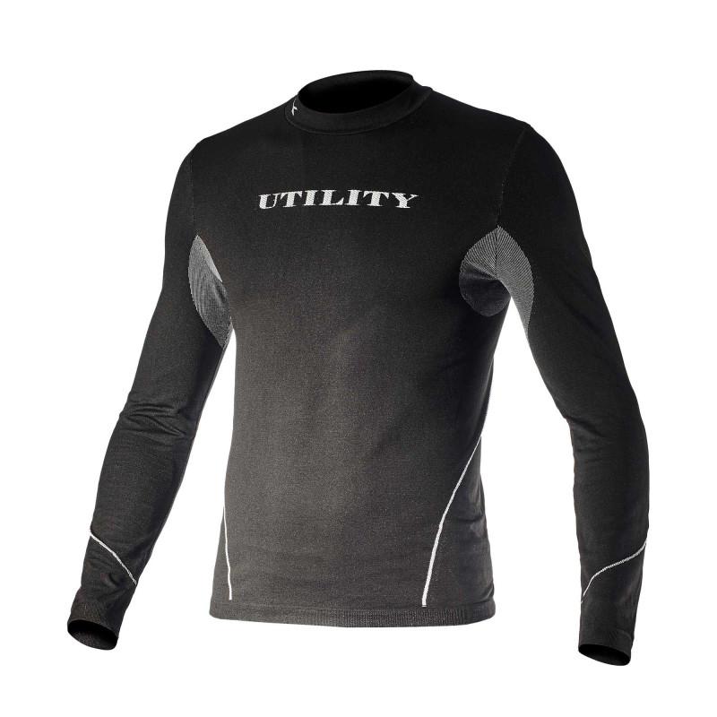 T-shirt sous couche grand froid hiver noir sans couture Diadora TOP SOUL