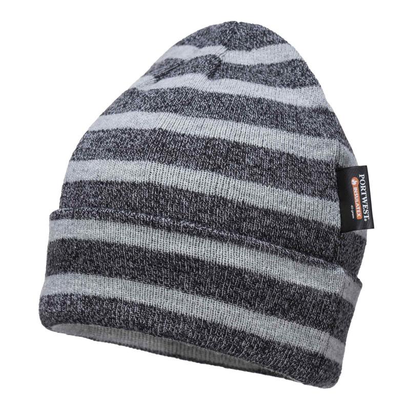 Bonnet professionnel pas cher Portwest rayé gris et noir B024