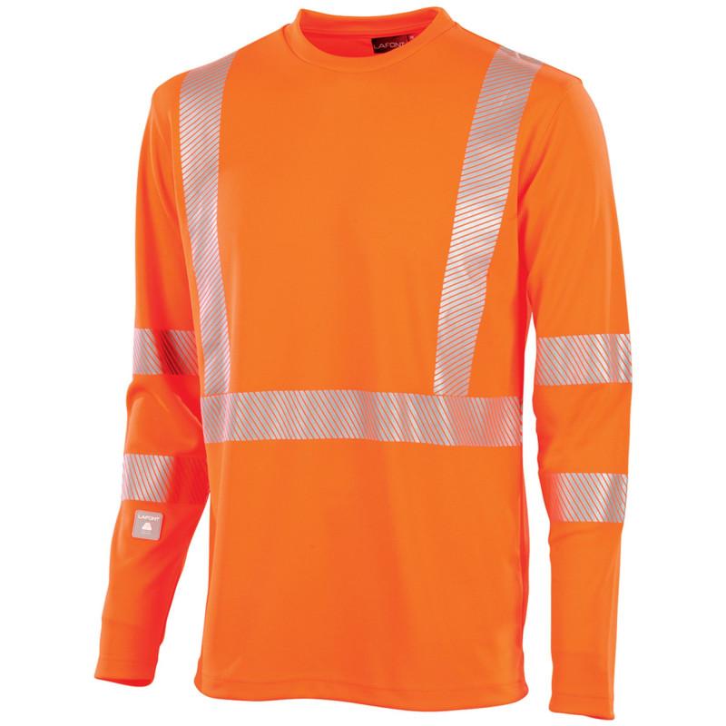 Tee shirt haute visibilité manches longues Lafont Work Vision 2 SIGNAL orange fluo