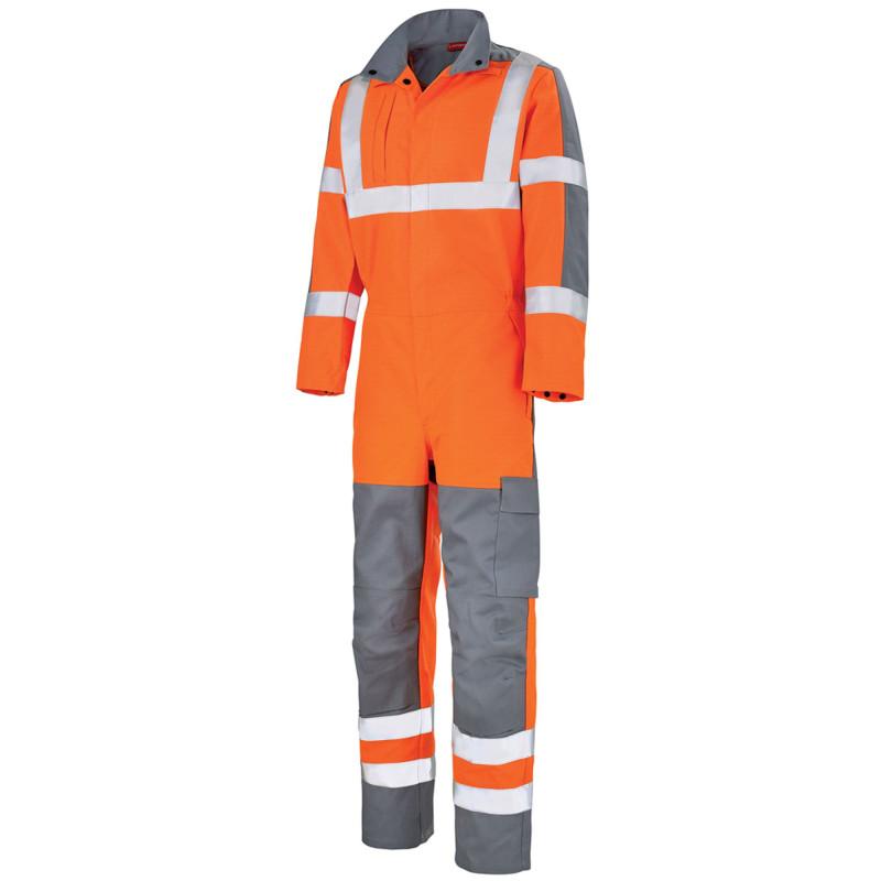 Combinaison haute visibilité multirisques sans métal Lafont Protect Hivi RHEA orange fluo gris acier