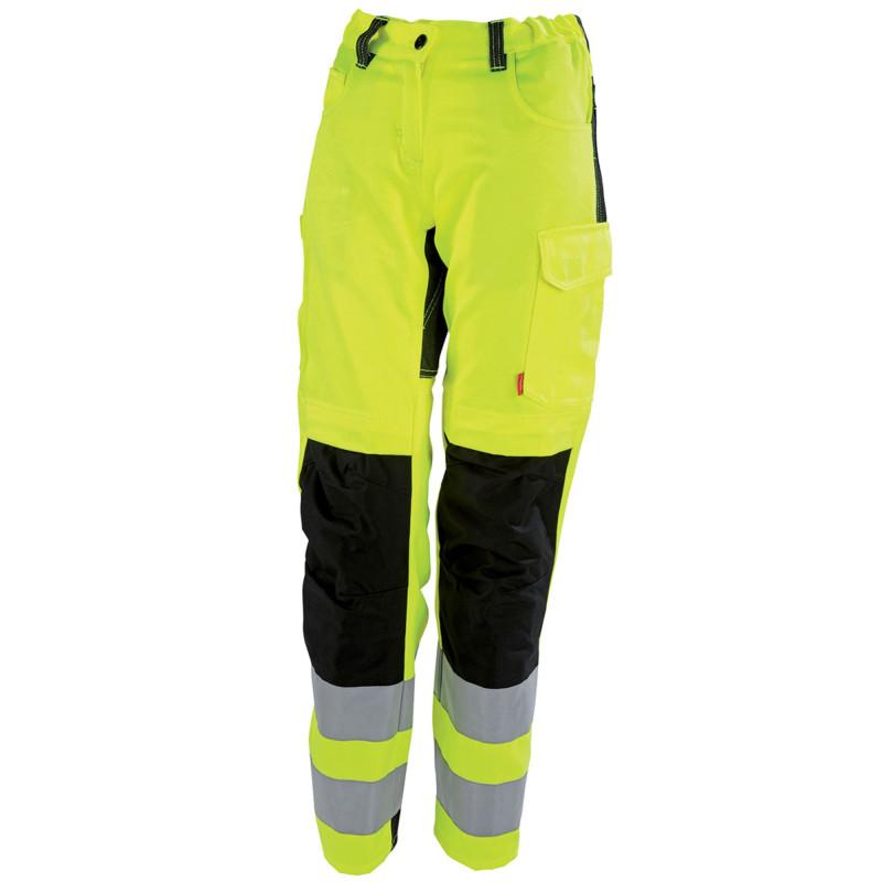 Pantalon de travail Haute Visibilité Femme Lafont TARA collection FLASH jaune fluo noir
