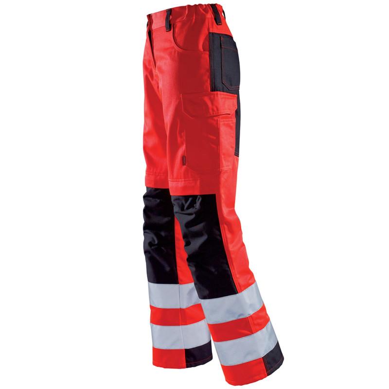 Pantalon de signalisation Haute Visibilité Femme Lafont TARA collection FLASH rouge fluo et noir