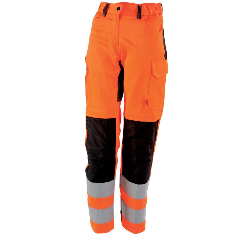Pantalon Femme Haute Visibilité Lafont TARA collection FLASH orange Hivi et noir