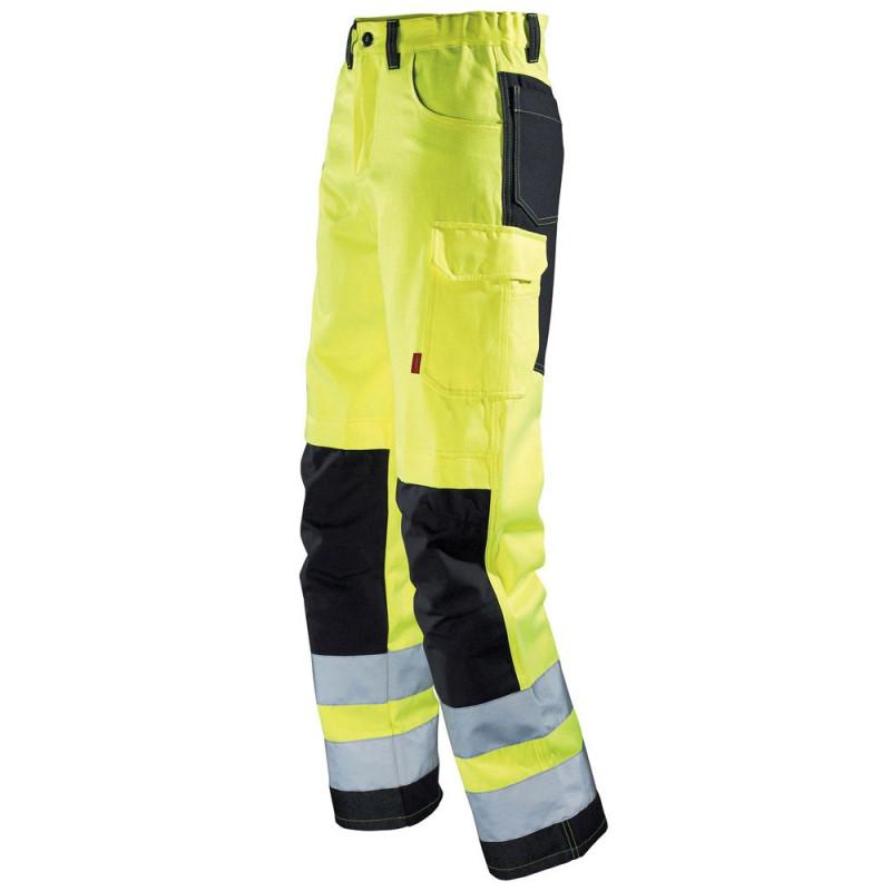 Pantalon de travail haute visibilité homme Lafont STAR collection FLASH jaune fluo et noir