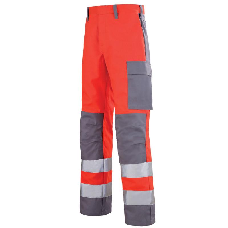 Pantalon de signalisation haute visibilité multirisques Lafont MARS collection Protect HIVI rouge hivi gris acier