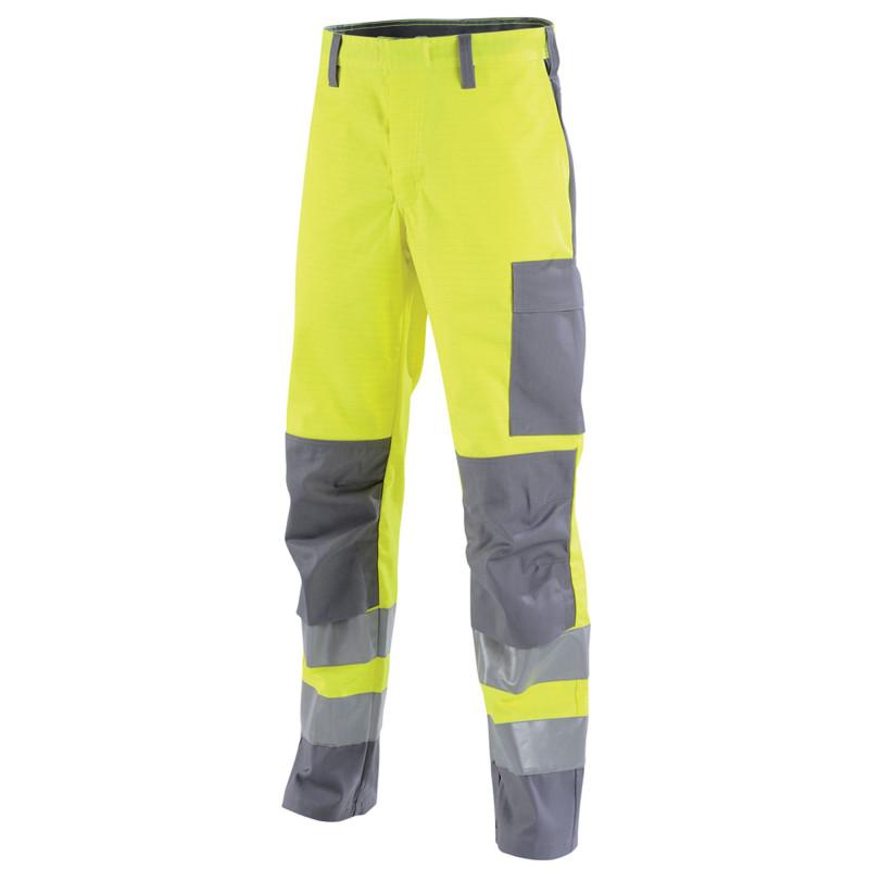 Pantalon de travail multirisques haute visibilité Lafont sans métal MARS collection Protect HIVI jaune hivi gris acier