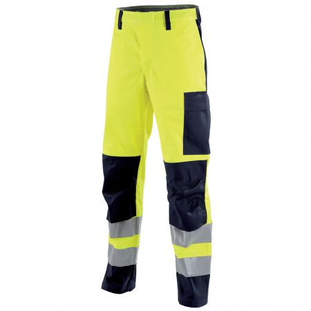 Pantalon multinormes HV Lafont poches genoux MARS collection Protect HIVI jaune fluo bleu marine