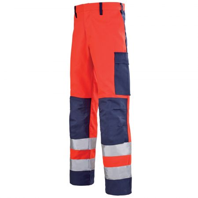 Pantalon haute visibilité multirisques entretien industriel Lafont MARS collection Protect HIVI rouge fluo bleu marine