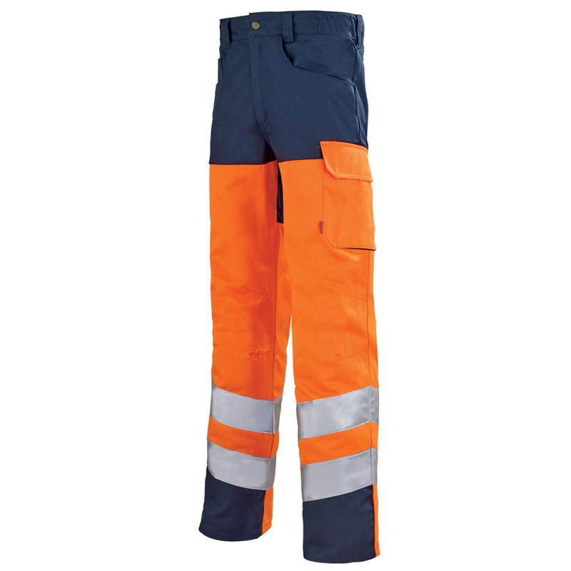 Pantalon de travail Haute Visibilité Lafont IRIS collection Work Vision 2 orange fluo bleu marine