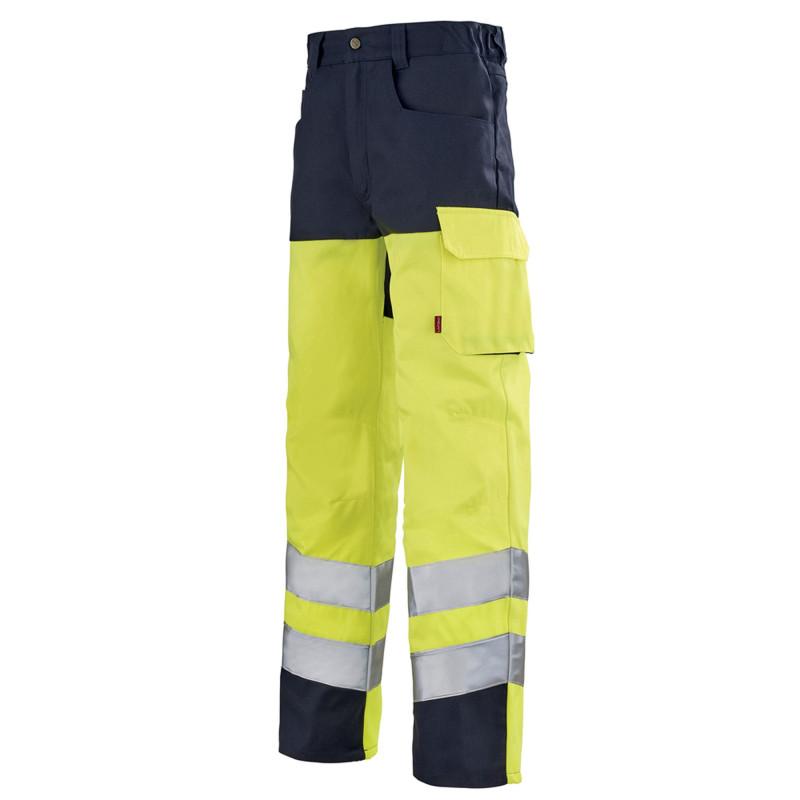 Pantalon de signalisation Haute Visibilité Lafont IRIS collection Work Vision 2 jaune fluo bleu marine