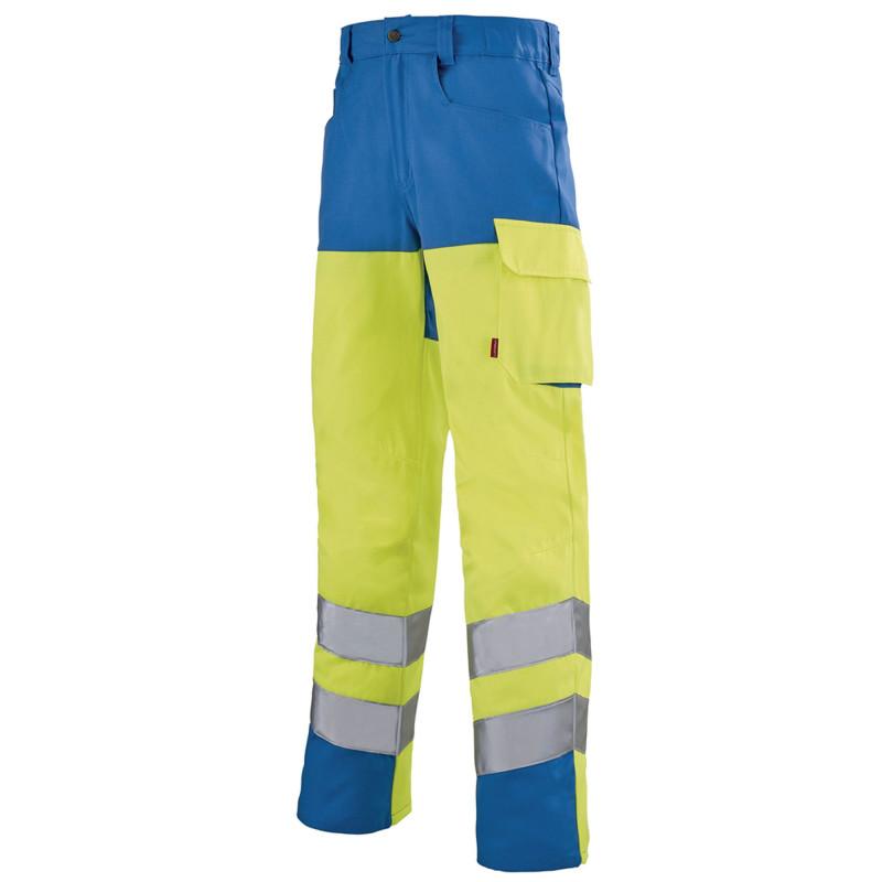 Pantalon jaune fluo Haute Visibilité Lafont IRIS collection Work Vision 2 contrasté bleu azur