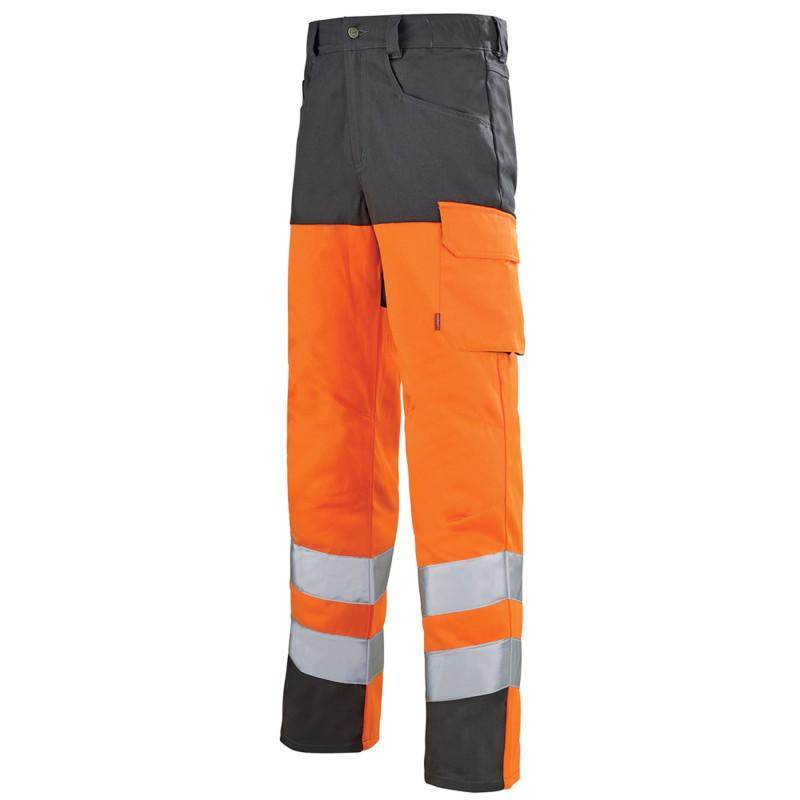Pantalon orange fluo Haute Visibilité Lafont IRIS collection Work Vision 2 contrasté gris charcoal
