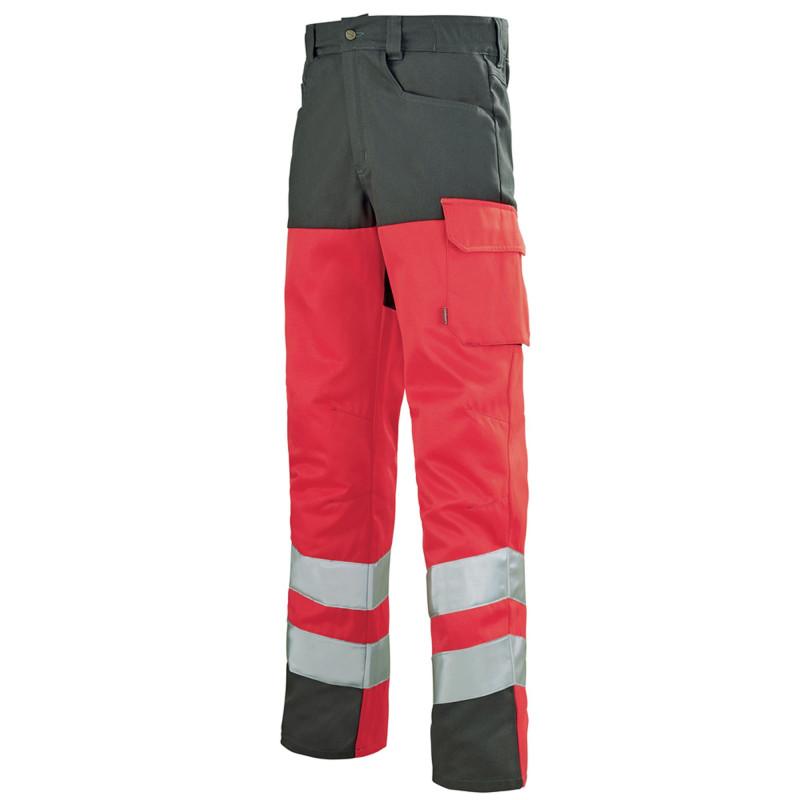 Pantalon de travail Lafont Haute Visibilité IRIS collection Work Vision 2 rouge hivi gris charcoal