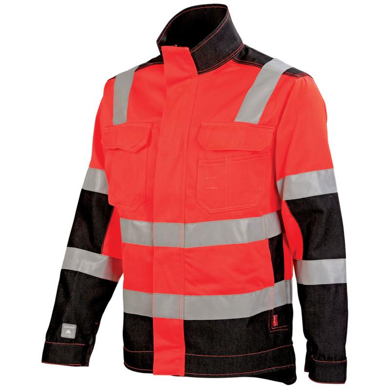 Blouson professionnel Haute Visibilité Lafont LUX collection Work Vision 2 rouge fluo noir