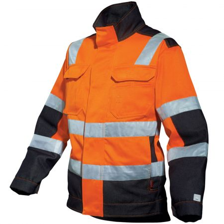 Blouson de signalisation HIVI Lafont LUX collection Work Vision 2 orange fluo noir