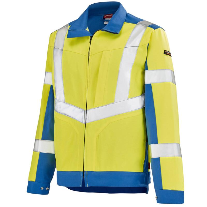 Blouson professionnel Haute Visibilité Lafont LUTEA Collection Work Vision 2 jaune fluo bleu azur