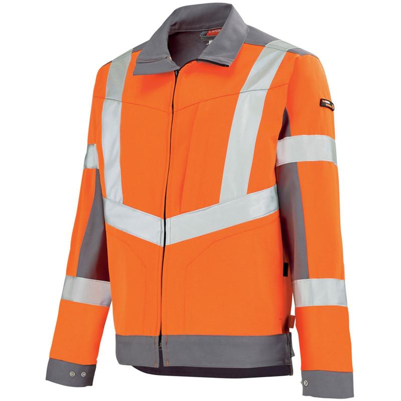 Blouson Haute Visibilité Lafont LUTEA Collection Work Vision 2 orange hivi et gris acier