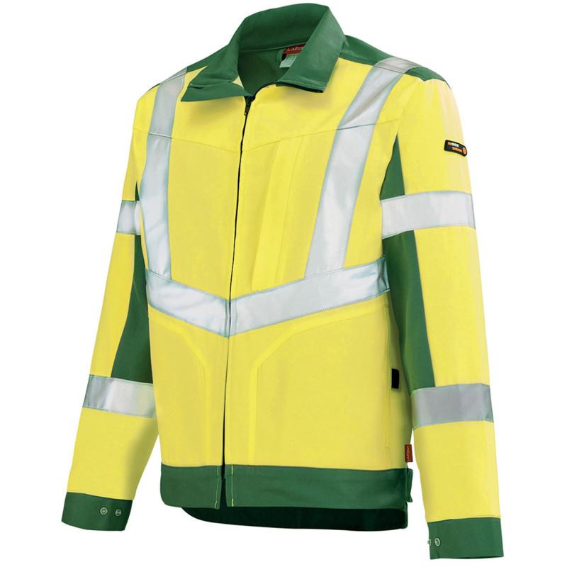Blouson Haute Visibilité jaune fluo Lafont LUTEA Collection Work Vision 2 contrasté vert foncé