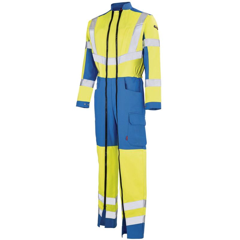 Combinaison de signalisation Haute Visibilité Lafont double zip OPTIC collection Work Vision 2 jaune hivi bleu azur