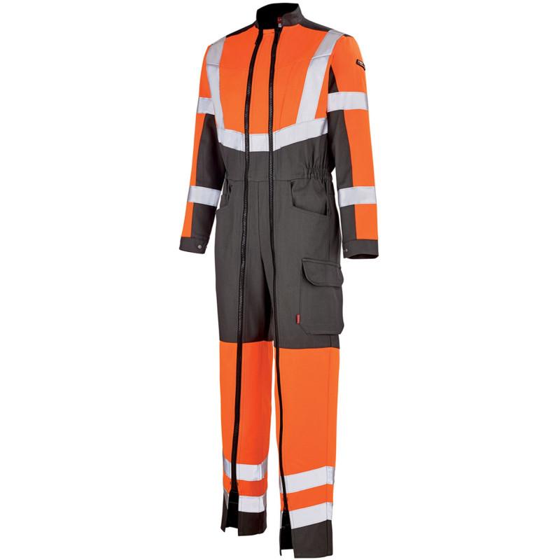 Combinaison double zip Haute Visibilité Lafont OPTIC collection Work Vision 2 orange hivi gris charcoal