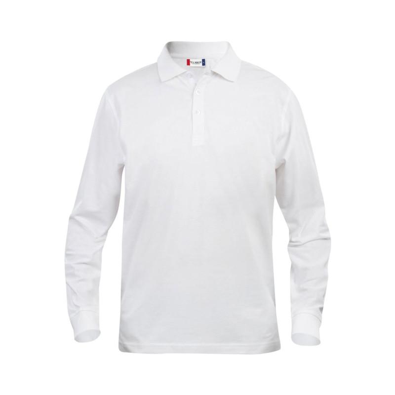 Polo de travail blanc pas cher à manches longues 100% Coton Clique CLASSIC LINCOLN