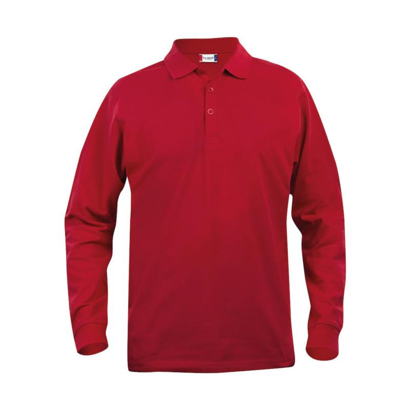 Polo professionnel rouge pas cher à manches longues 100% Coton Clique CLASSIC LINCOLN