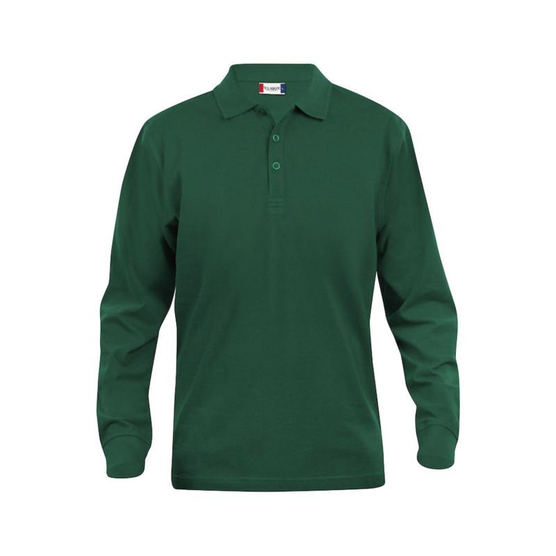 Polo de jardinier pas cher à manches longues 100% Coton Clique CLASSIC LINCOLN vert foncé