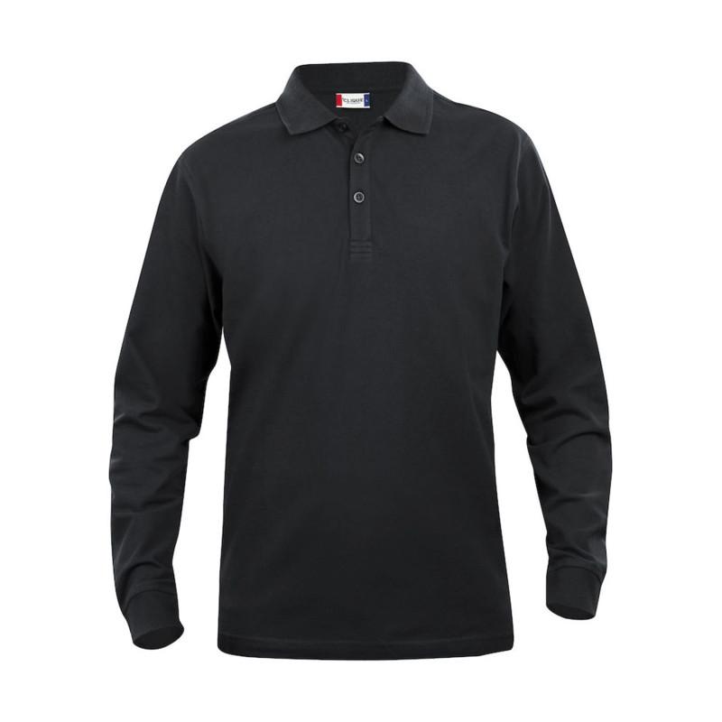 Polo professionnel noir 100% coton pas cher Clique Classic Lincoln