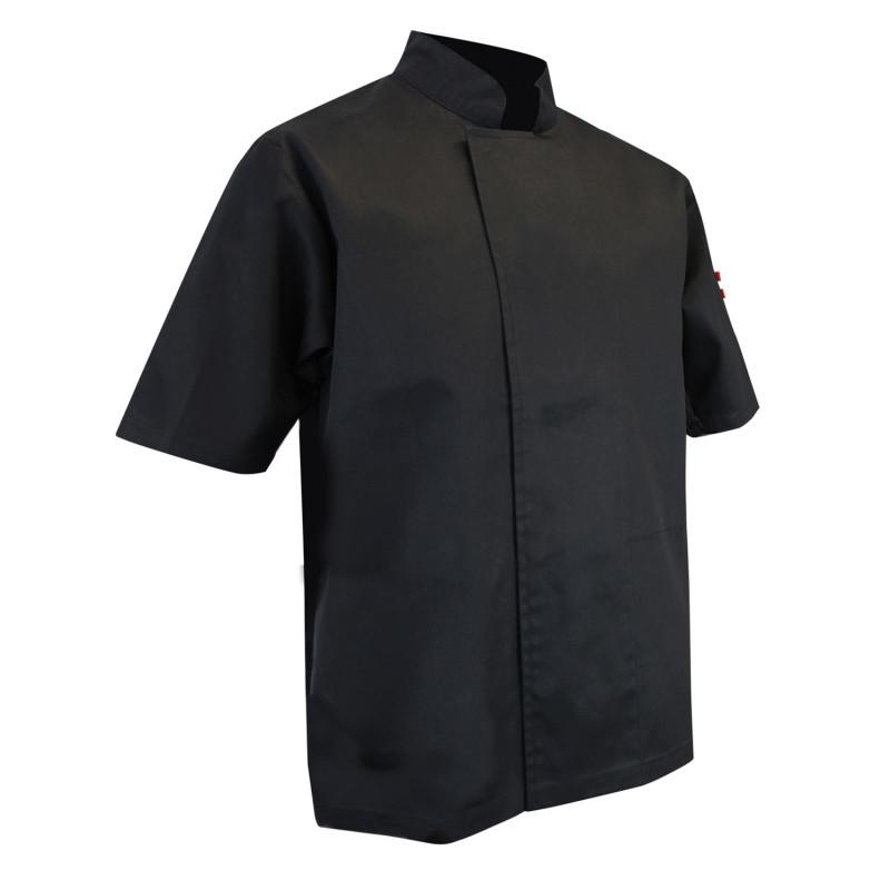 Veste de cuisine professionnelle noire pas cher en polycoton LMA à manches courtes ECUMOIRE