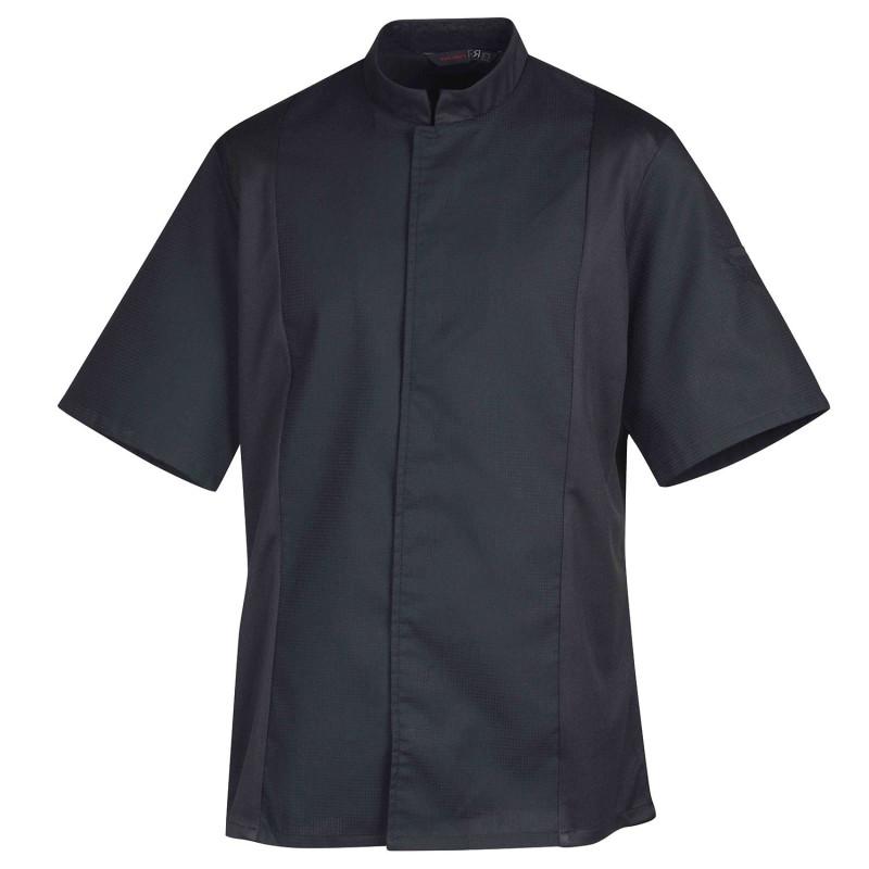 Veste de cuisine noire Robur à manches courtes SIAKA confortable et respirante