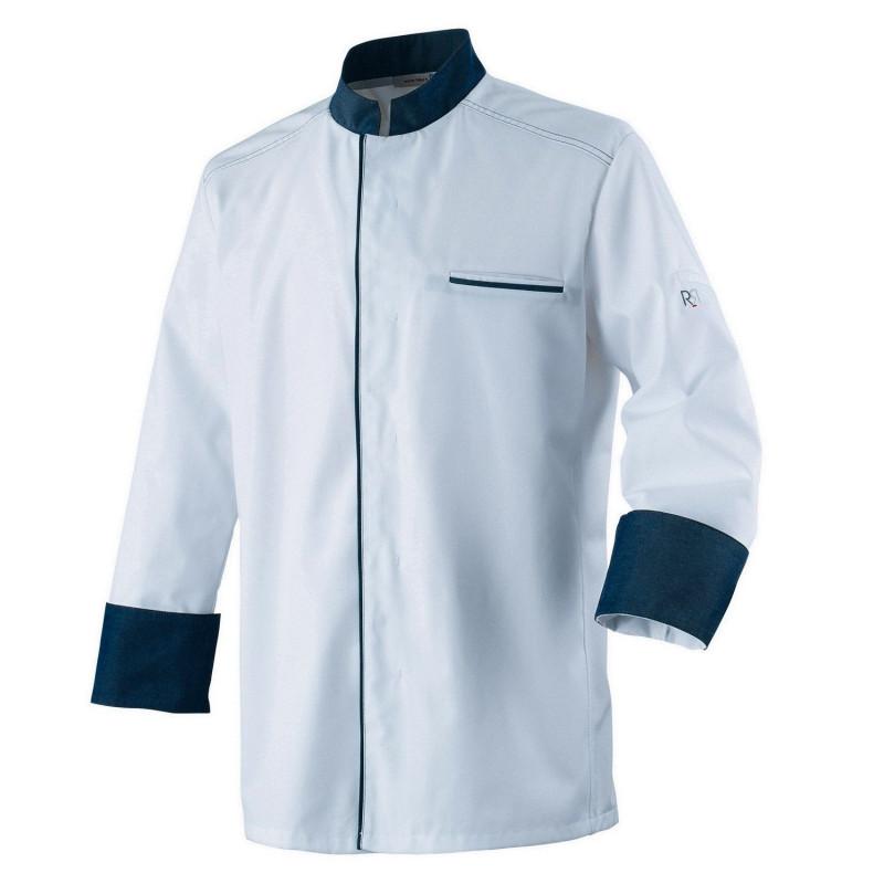 Veste de cuisine blanche contrasté denim à manches longues ABAX Robur