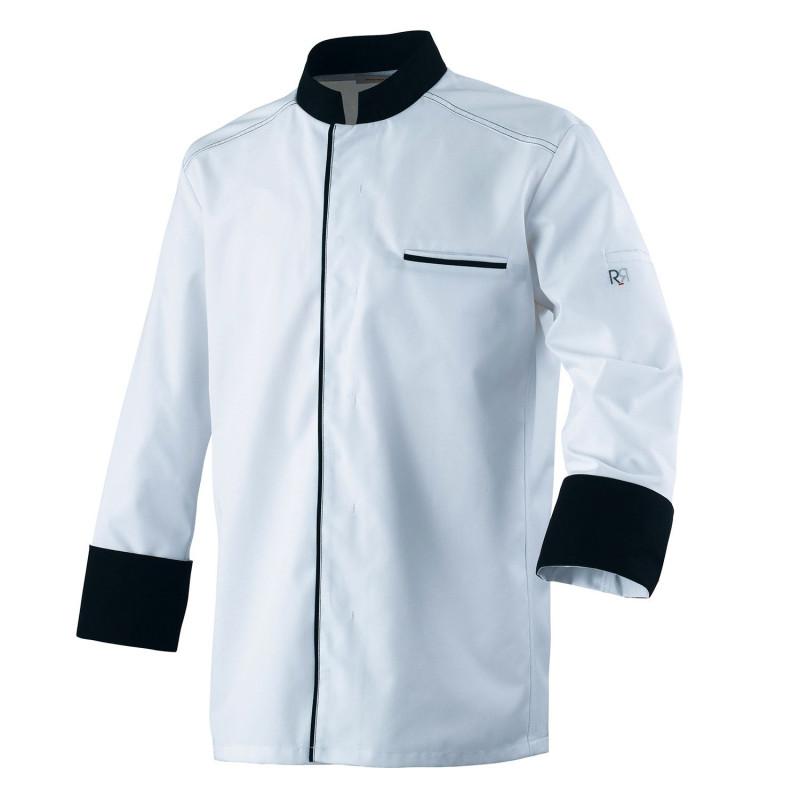 Veste de cuisine blanche contrasté noire à manches longues ABAX Robur