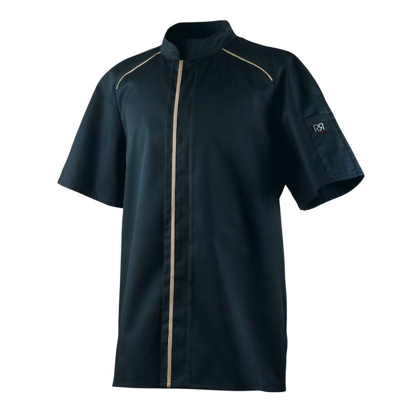Veste de cuisine noire et beige à manches courtes APPOLLO