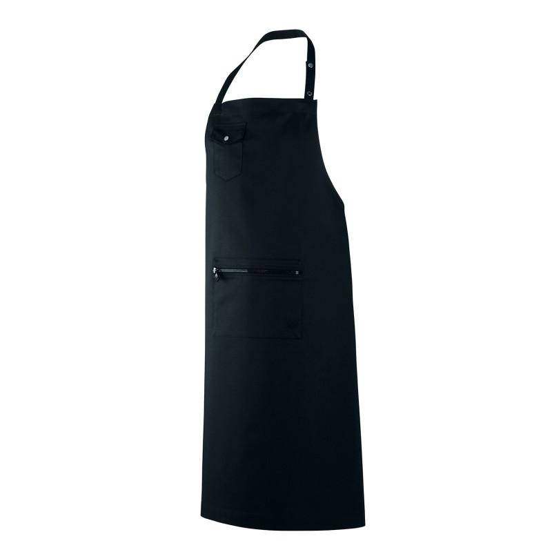 Tablier de cuisine professionnel noir créée par une styliste avec poche zippée Robur ALLURES