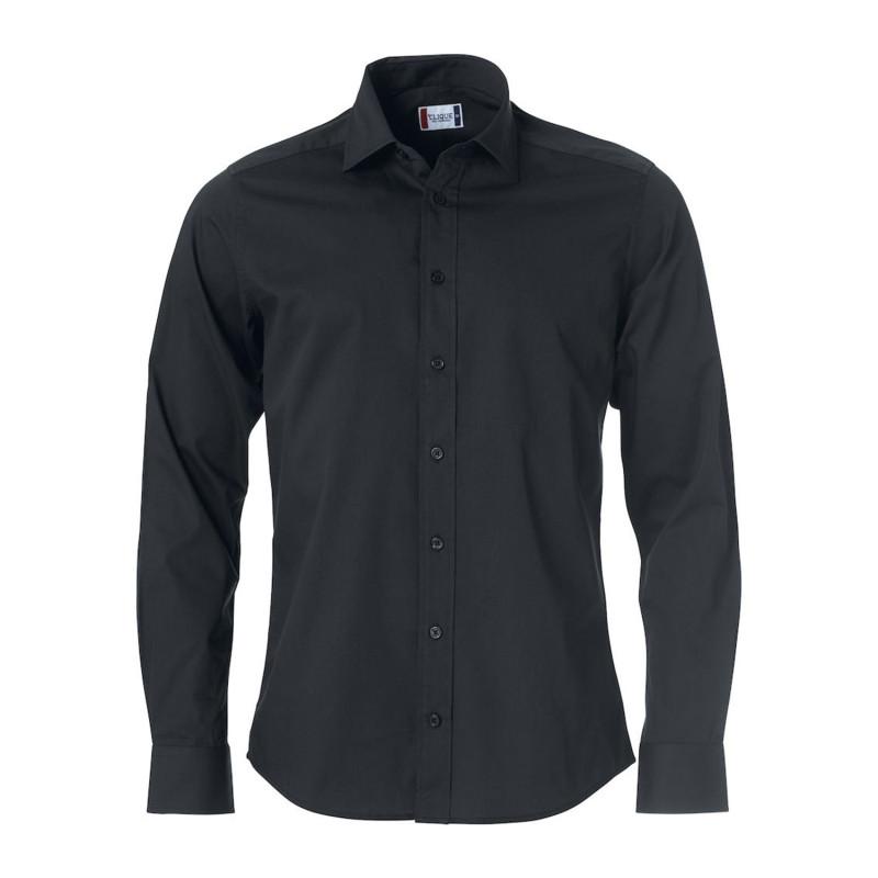 Chemise de service noire pas cher pour homme à manches longues 100% coton Clique CLARK