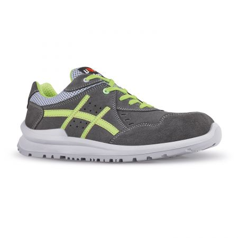 Chaussures de sécurité gris et vert en cuir velours UPOWER S1P SRC KIMI | Baskets de sécurité antidérapante