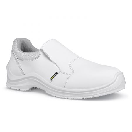 Mocassins de sécurité cuisine antidérapants blancs GUSTO Safety Jogger et Shoes For Crews S3 SRC