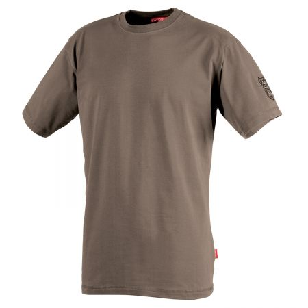 T-shirt professionnel stretch marron havane à manches courtes TADI Lafont collection Stone by Lafont