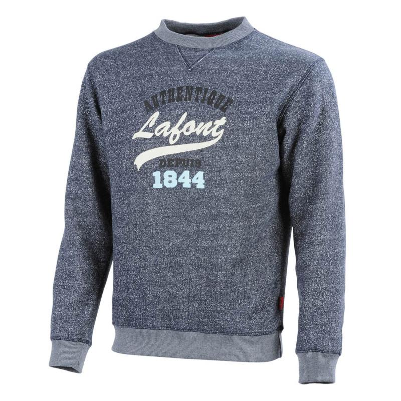 Sweat Shirt professionnel Lafont BORA Collection Stone by Lafont en molleton chiné bleu chiné