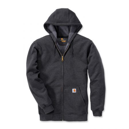 Sweat shirt professionnel Carhartt gris anthracite chiné K122 HOODED ZIP FRONT SWEATSHIRT