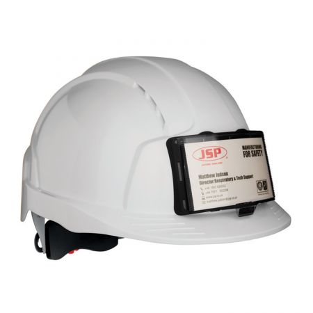 Casque de chantier avec porte-badge blanc JSP EVOLITE