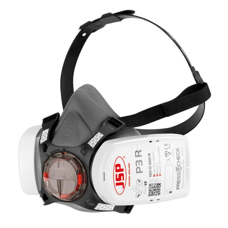 Demi masque respiratoire à cartouche P3 | Masque FORCE 8 JSP | Filtre P3 PRESS TO CHECK JSP