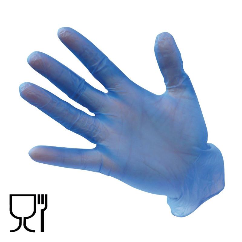 Gants jetables contact alimentaire bleus en Vinyle