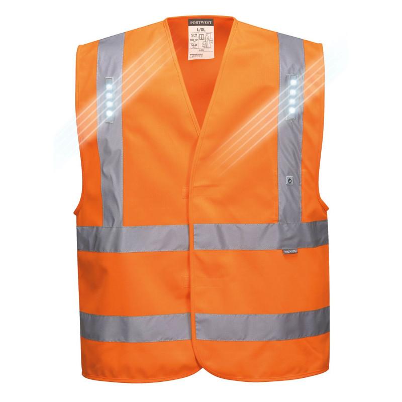 Gilet haute visibilité lumineux orange Portwest VEGA