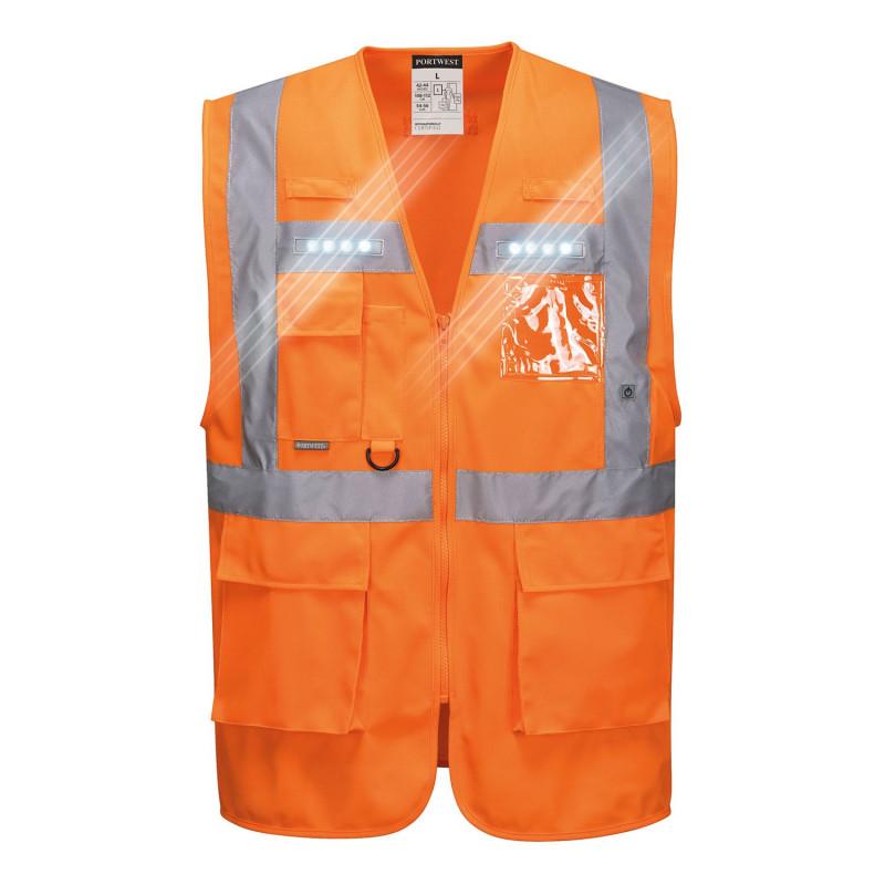 Gilet haute visibilité lumineux orange Portwest ORION