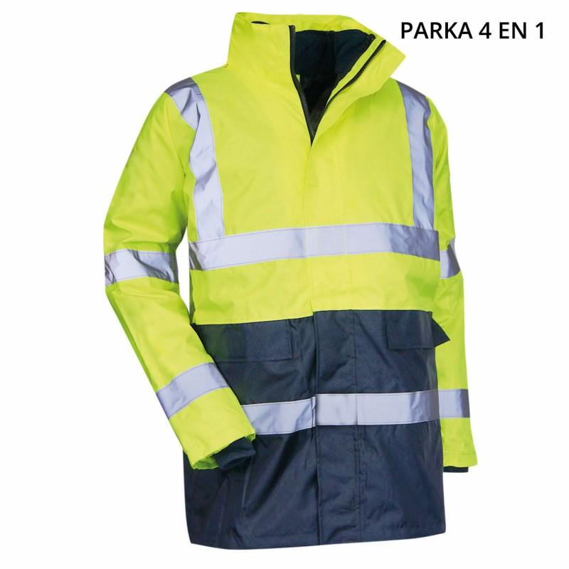 Parka 4 en 1 haute visibilité jaune LMA PREVENTION